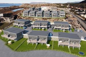 Det planlegges 12 vestvendte tomannsboliger på 145 m2 i Lomtjønna Borettslag på Draget i Nordlandet.