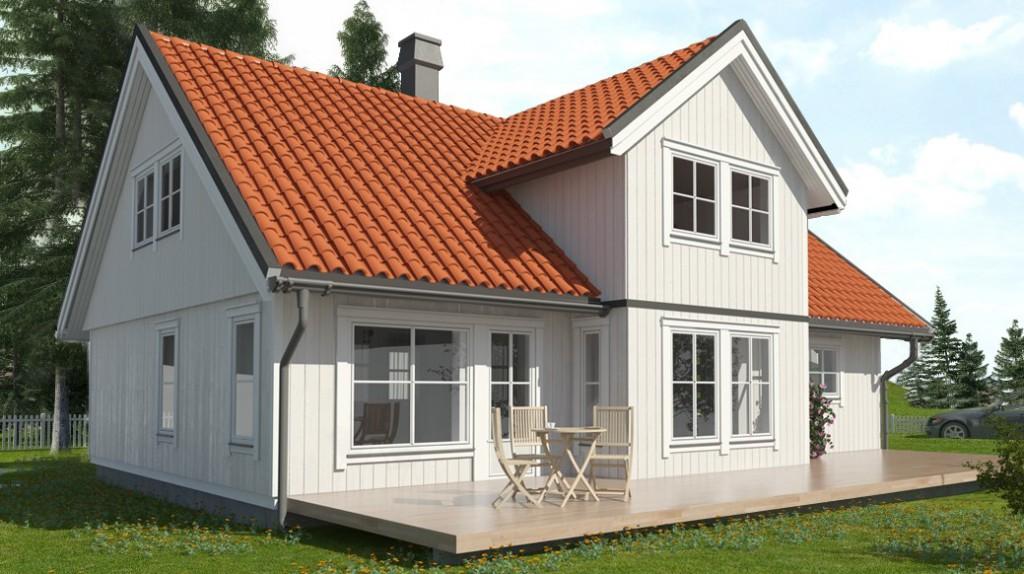 Hustype Hegra er spesialtegnet for noen av tomtene på Hegreneset. Illustrasjon: Tandem Reklame AS