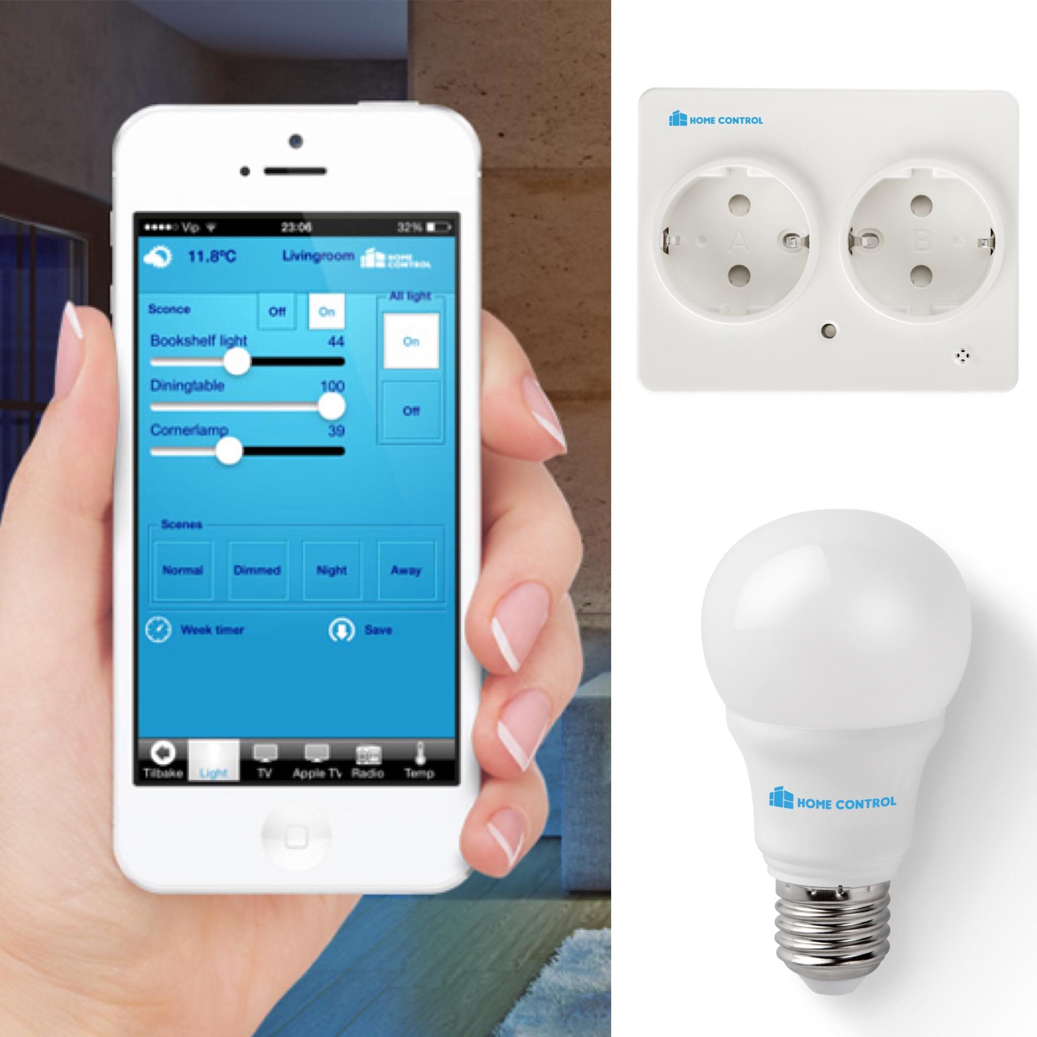 Bruk en app på telefonen til å styre ulike enheter i huset ditt.